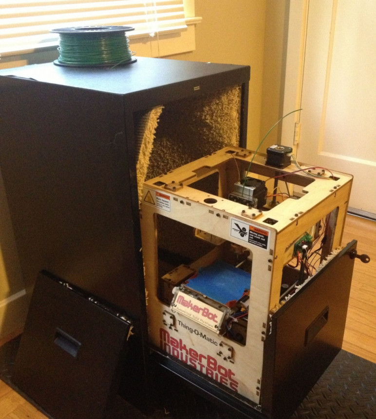 A 3D printer enclosure made from an old filing cabinet.