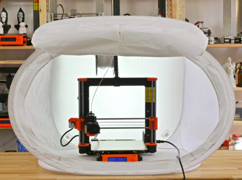 A photo studio tent used as a 3D printer enclosure.