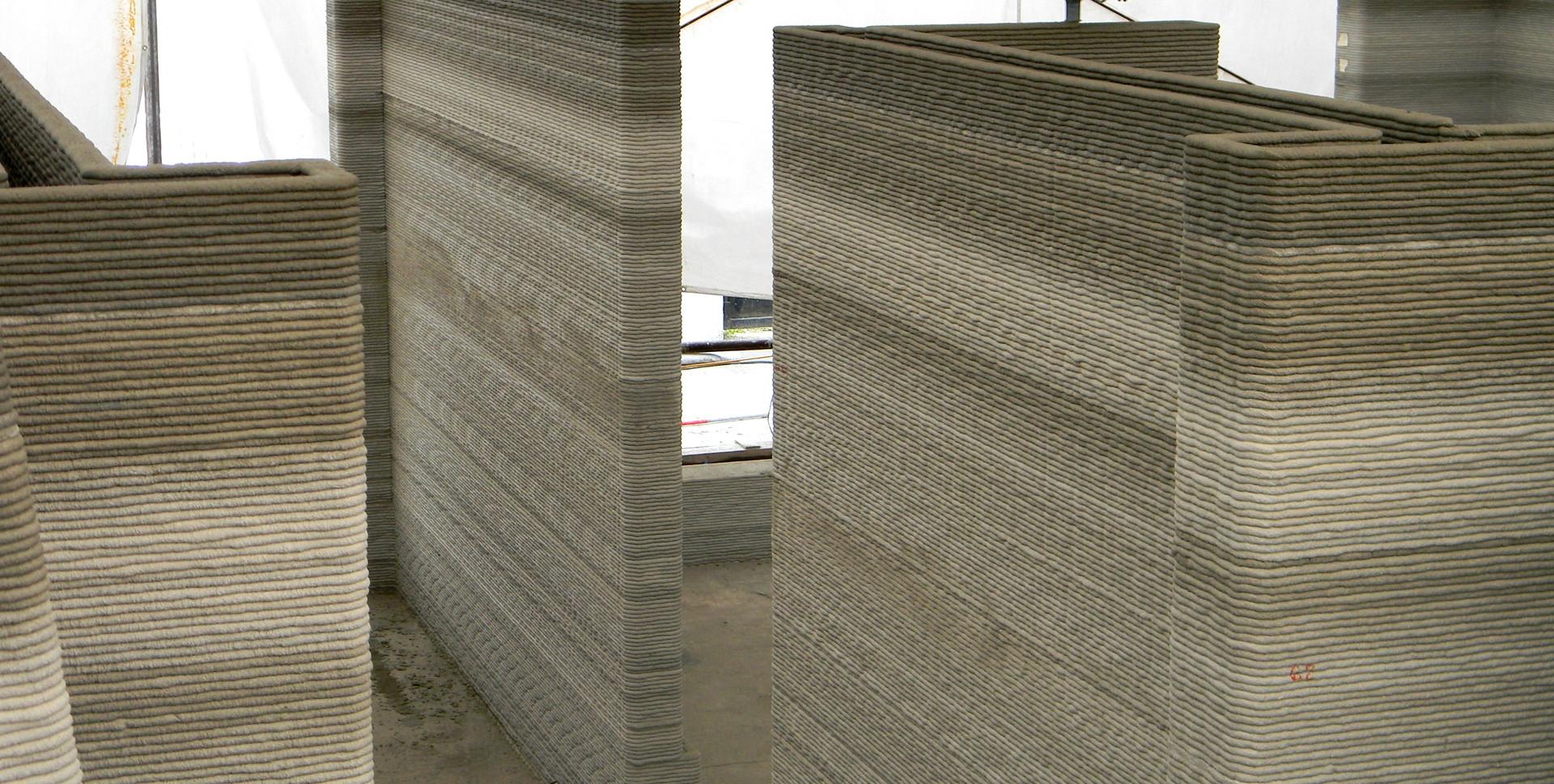 Alcune pareti stampate in 3D.