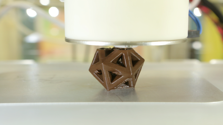 Chocolate 3D printing in action.