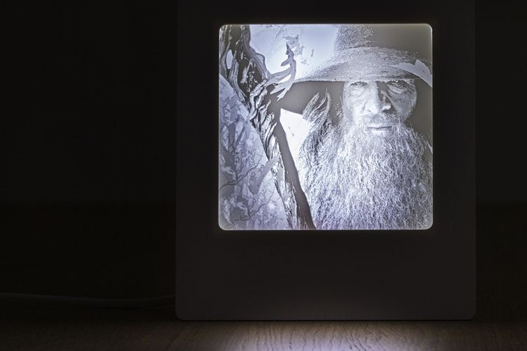 A lithophane of Gandalf.