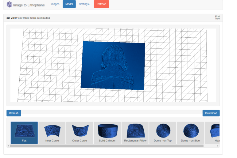 The web-based tool 3DP Rocks.