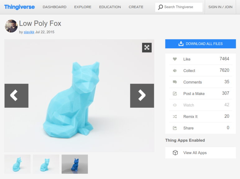 The default view of an object on Thingiverse.