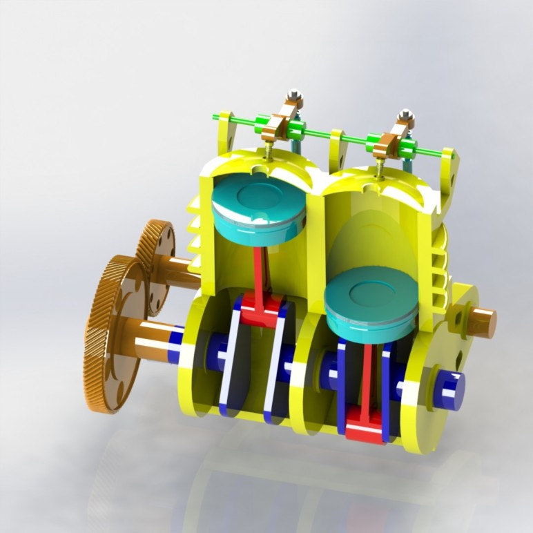 A solid model of twin-piston engine.