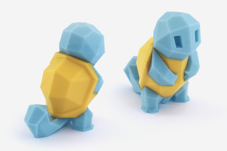 A low-poly Squirtle 3D printed on a dual extrusion 3D printer.