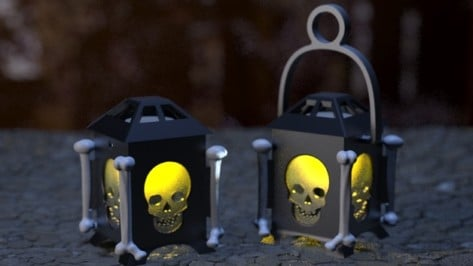Featured image of Light Up Halloween Night with this 3D Printed Skull Lantern