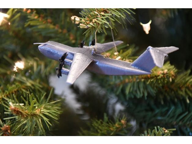 The A400M hanging from a holiday pine.