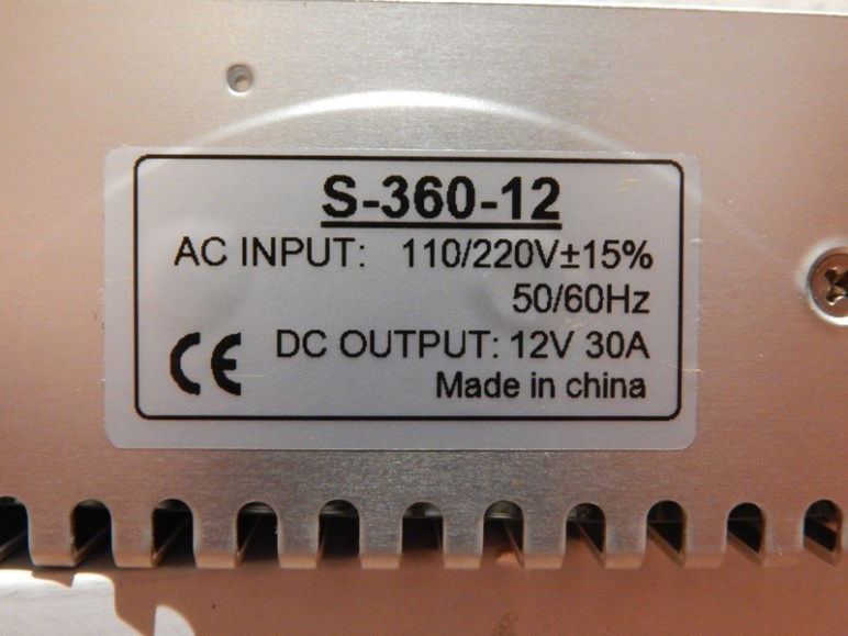 The sticker with specified ratings of a PSU.