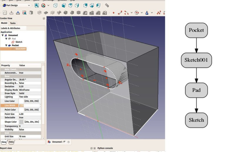 A parametric object in FreeCAD.