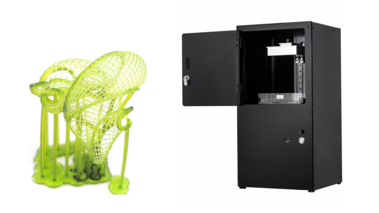 The Peopoly Moai next to a zoomed-in print.