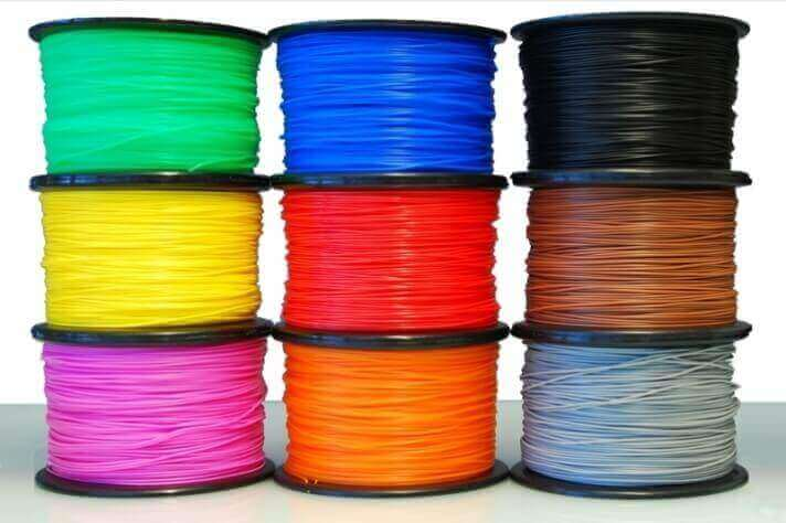 PLA filament spools come in many different colors.