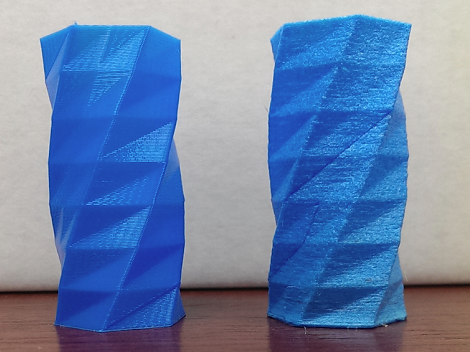 The same object, printed with dry (left) and wet (right) nylon.