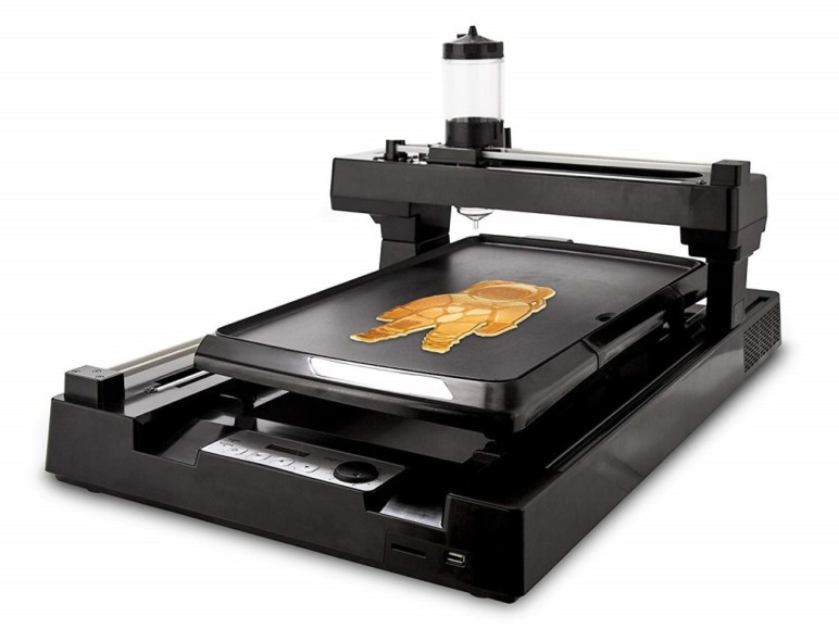 PancakeBot prints and cooks specially-shaped pancakes.