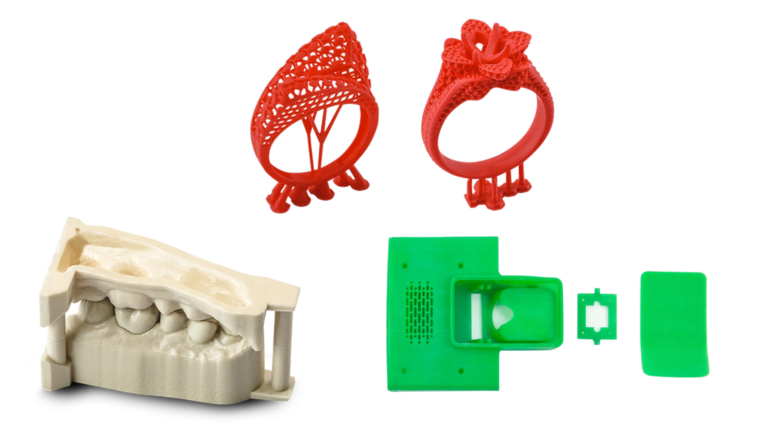 Sample parts from the fields of dentistry, engineering, and jewelry.