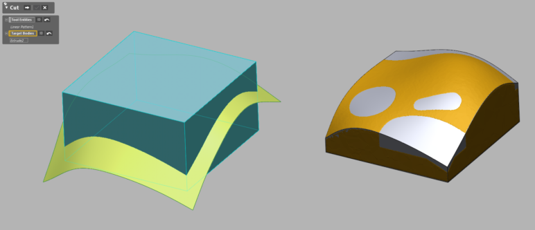 Cutting the solid model.