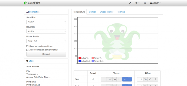 The lovely OctoPrint interface.
