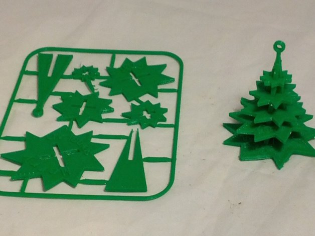 Image of 3D Printed Christmas Decorations: Evergreen Tree Christmas Ornament on Card