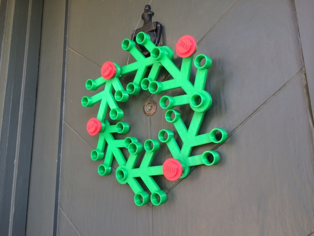 Image of 3D Printed Christmas Decorations: Giant Lego Christmas Wreath