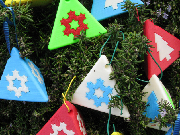 Image of 3D Printed Christmas Decorations: Tetrahedral Christmas Ornaments