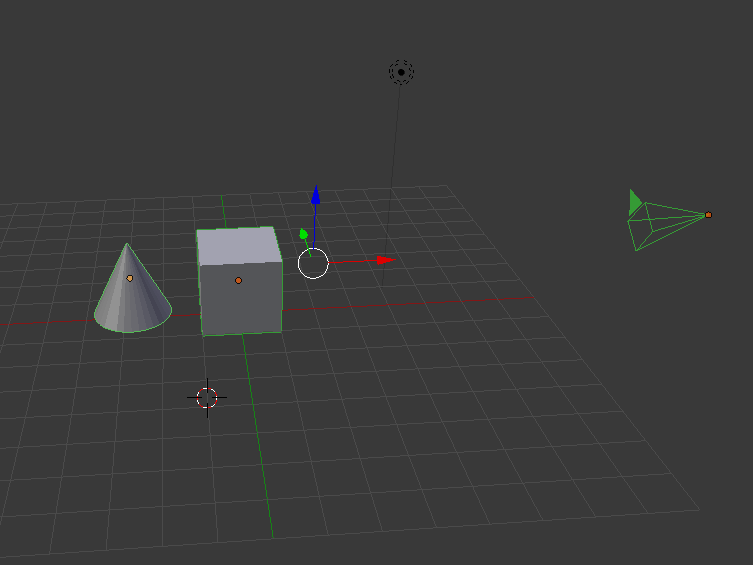 The cube, cone and the camera are grouped.