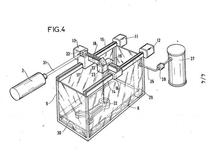 Patent drawing from an abandoned French 3D printer.