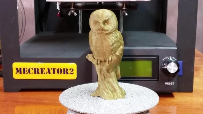 3D printed owl statue using bronze eSUN PLA+.