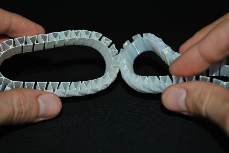 Two prints made in soft PLA.