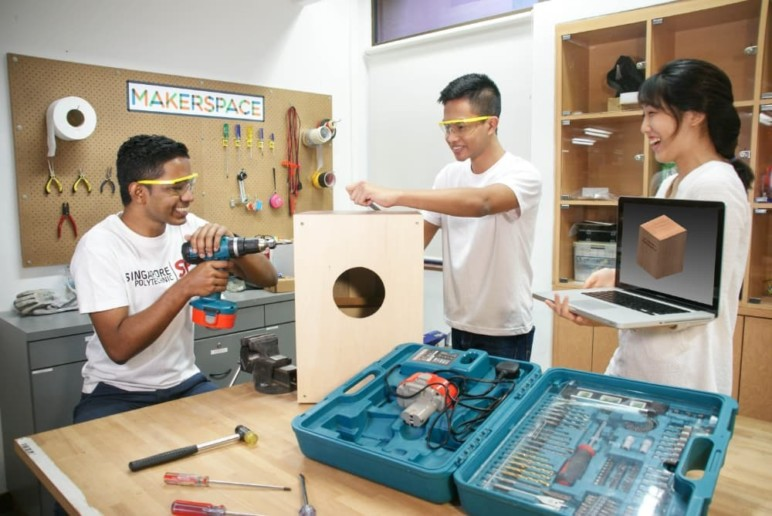 A maker space offers more hands-on opportunities with a variety of tools.