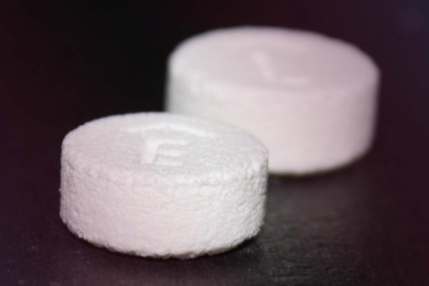 The first FDA-approved 3D printed drug: Spritam (levetiracetam) by Aprecia Pharmaceuticals.