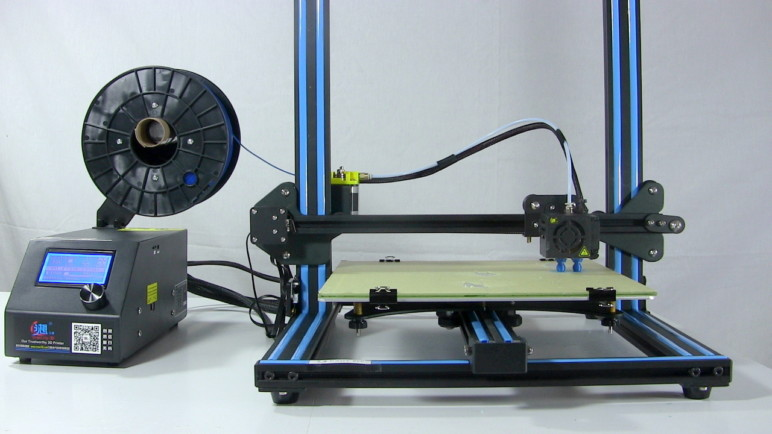 The Creality CR-10, one of the more popular Bowden extruder 3D printers.