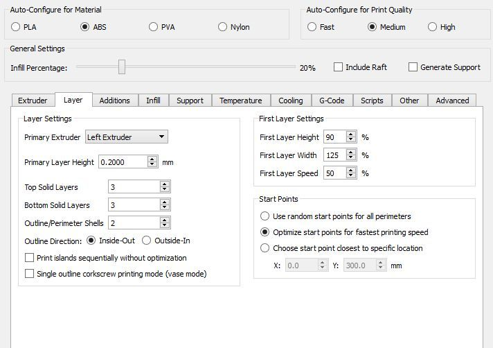 Layer thickness settings in Simplify 3D.