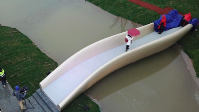 Featured image of China's First 3D-Printed Footbridge Unveiled in Shanghai