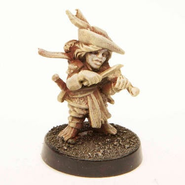 A female halfling bard miniature available on Etsy.