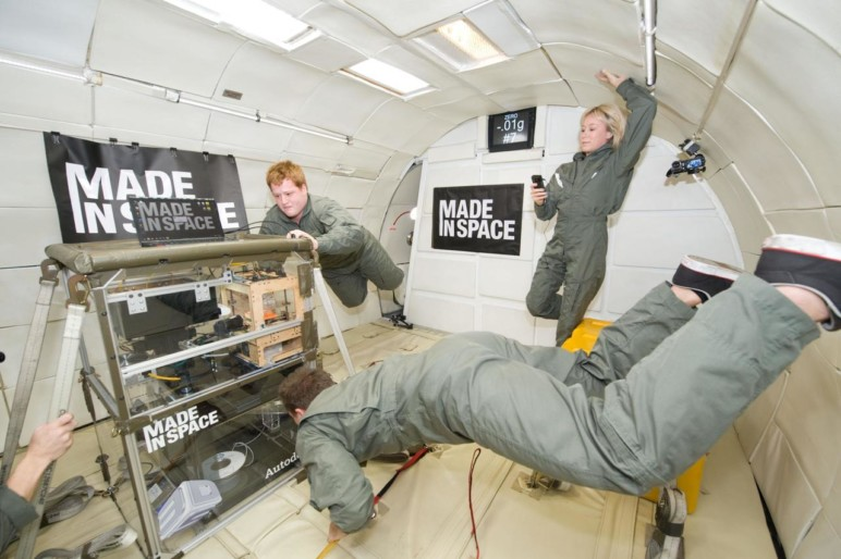 Made In Space testing their 3D printer in a zero-gravity chamber before launching it into space.