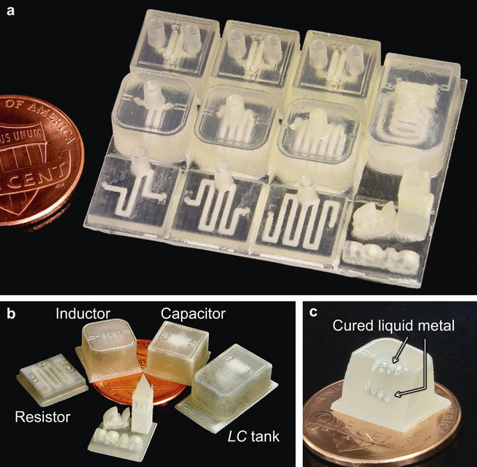 3D printed electronic components.