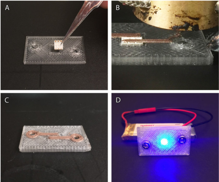 3D printed components using conductive thermoplastic.