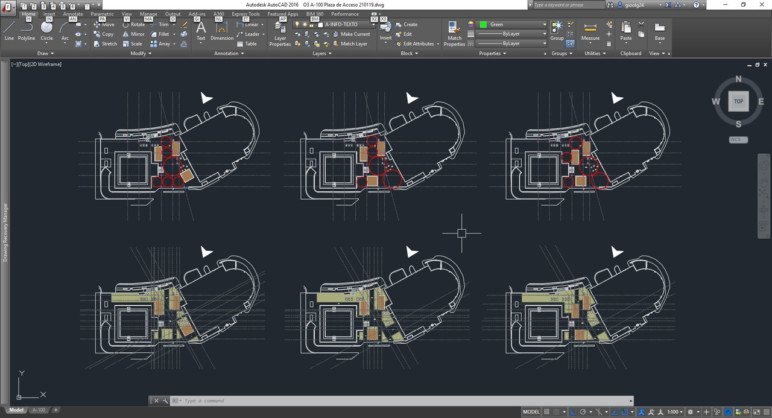 The AutoCAD 2016 user interface.