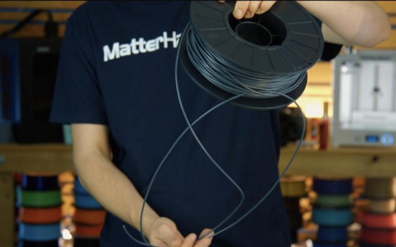 Untangling a filament spool.
