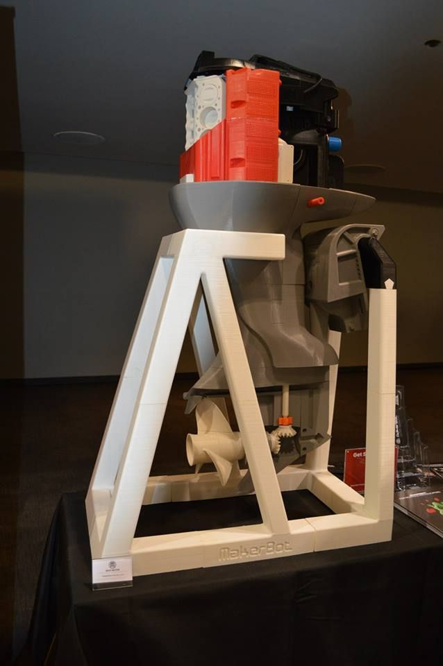 4-foot tall 3D printed outboard boat engine.