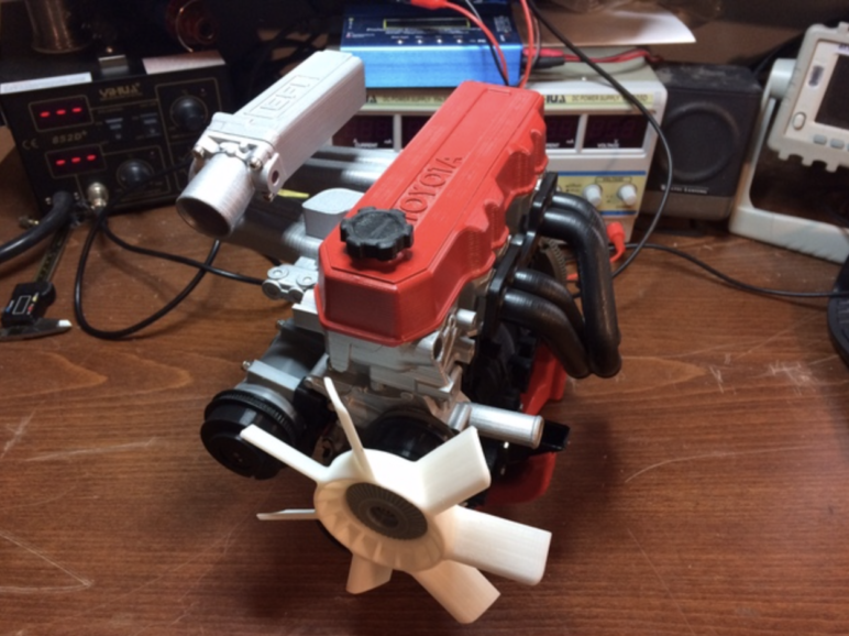 A fully functional 3D printed Toyota 4 cylinder 22RE engine.