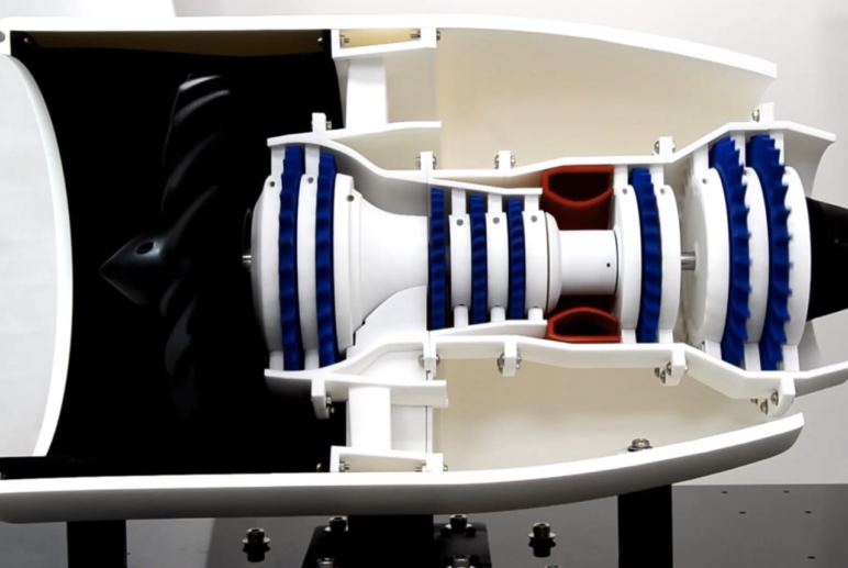 A 3D printed jet engine.