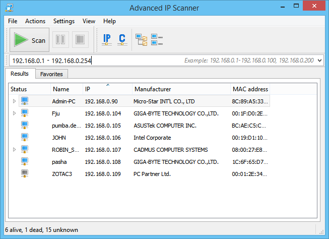 The Advanced Ip Scanner interface.