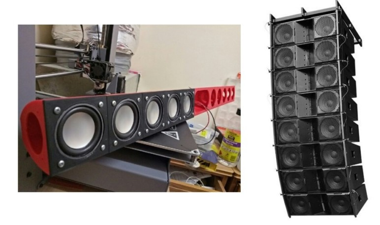 The modular speaker and a line array.