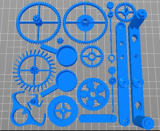 The plated clock parts.
