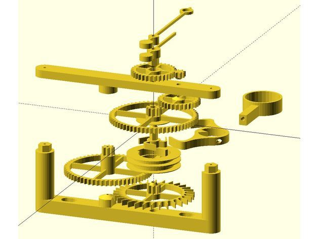 An exploded view of the clock, showing where each piece fits.