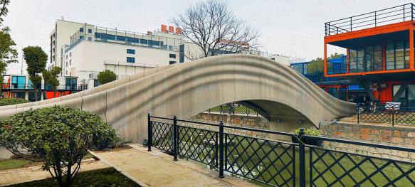A 3D printed concrete bridge in Shanghai, China was unveiled in 2019