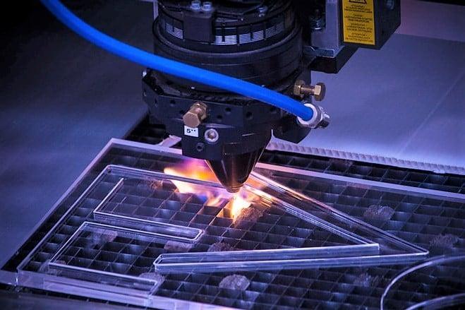 Laser cutting acrylic.