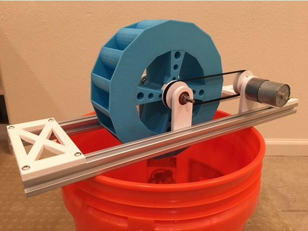 This water turbine can power a 3-W LED when running at full power.