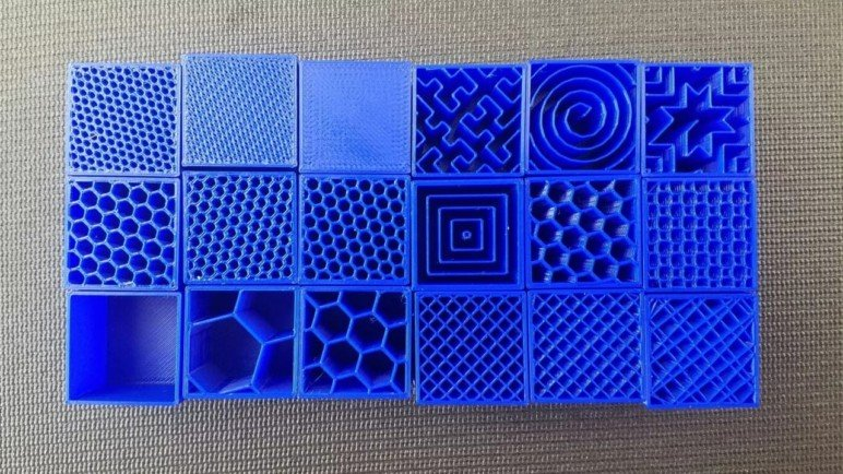 A variety of infill patterns and densities.