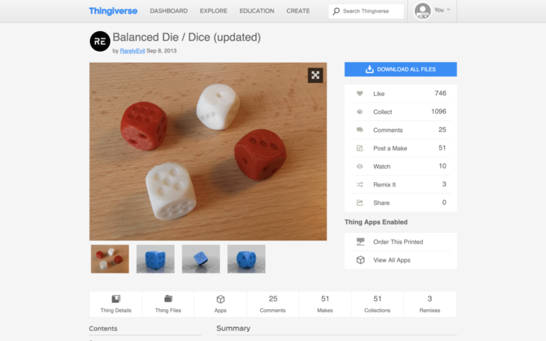 Thingiverse's massive community of makers produces many great dice models like these.